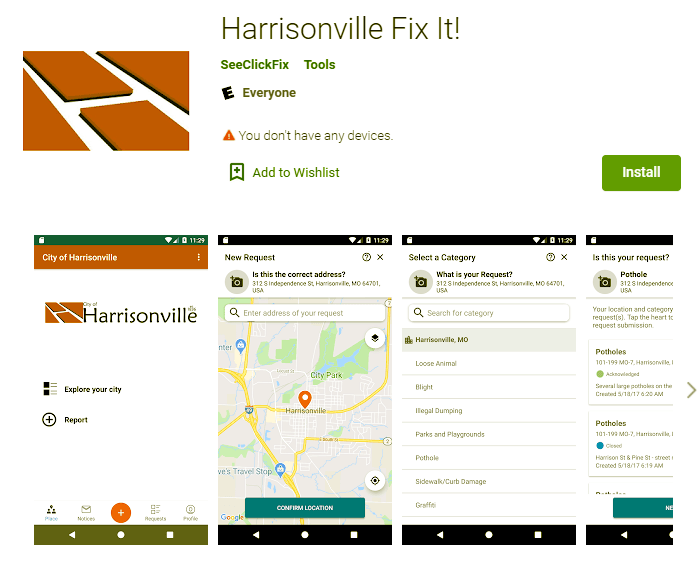 Harrisonville Fix It in Google Play store
