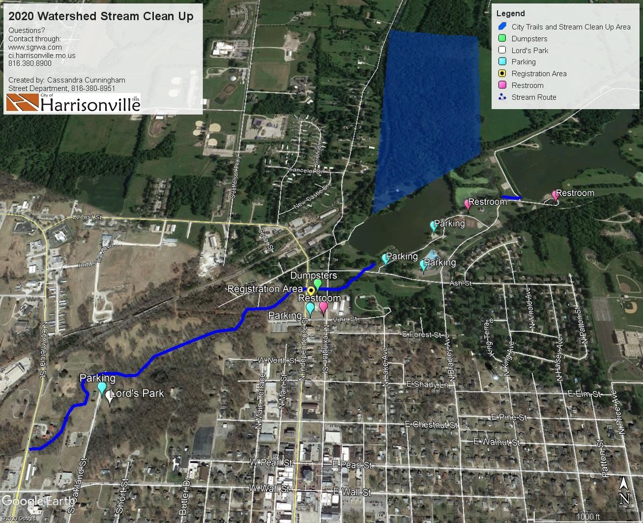 2020 Watershed Stream Cleanup Event Map