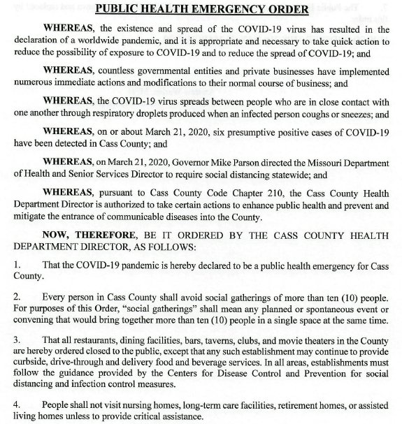 Cass County Health Dept new emergency order 3-20-20