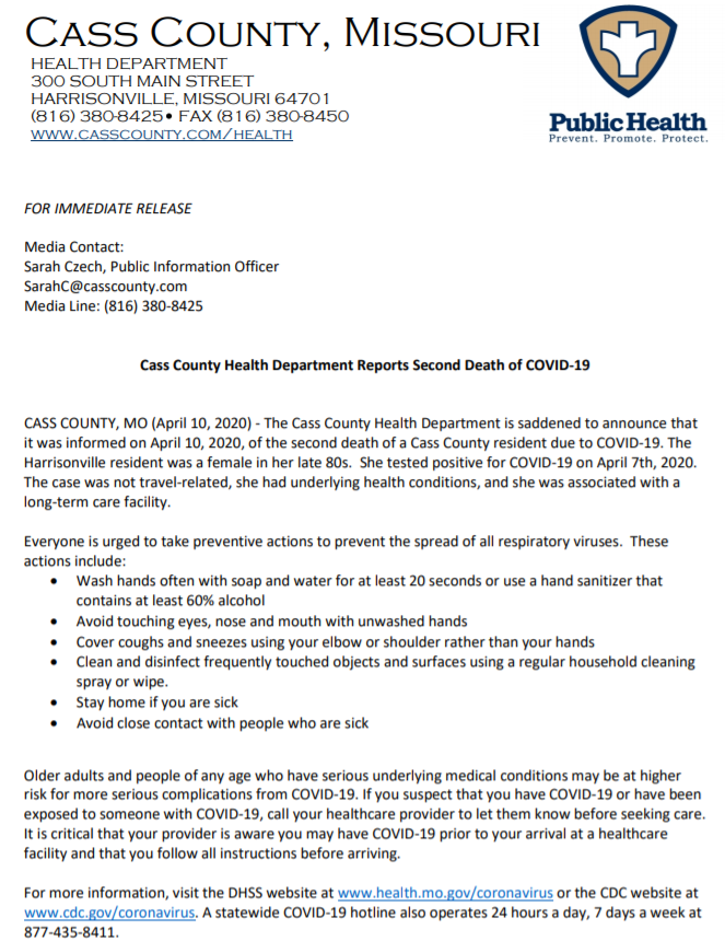 Cass County Health Department second death press release