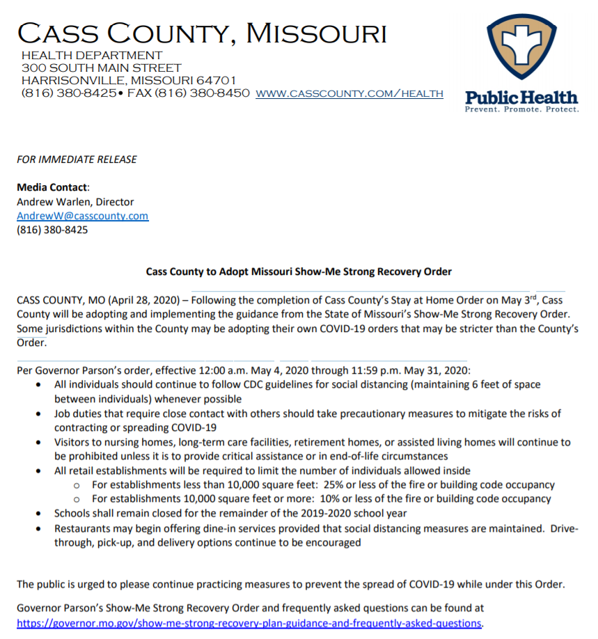 Cass County Adopts Missouri Show-Me Strong Recovery Order