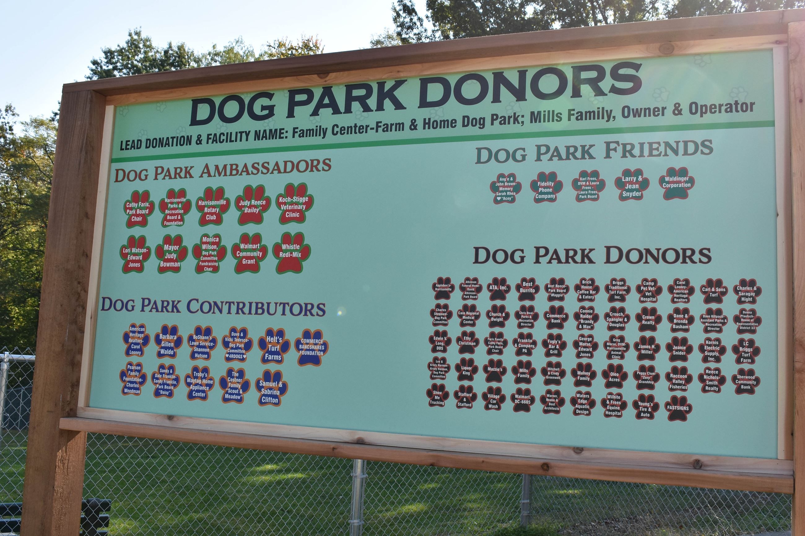 Dog Park donor recognition