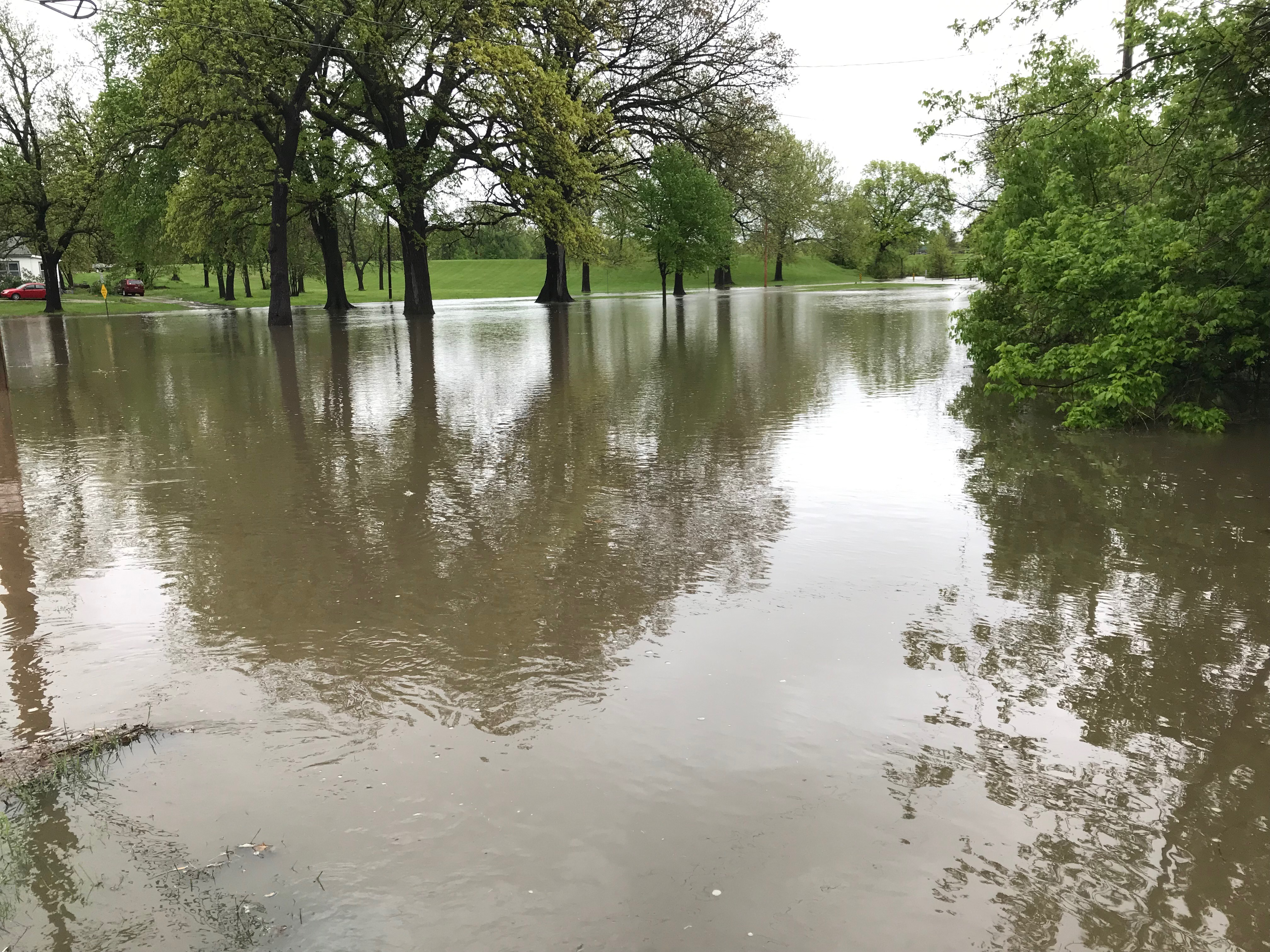 Flooding on the southwest end of Harrisonville City Park after an April storm dropped over five inches of rain in Harrisonville.