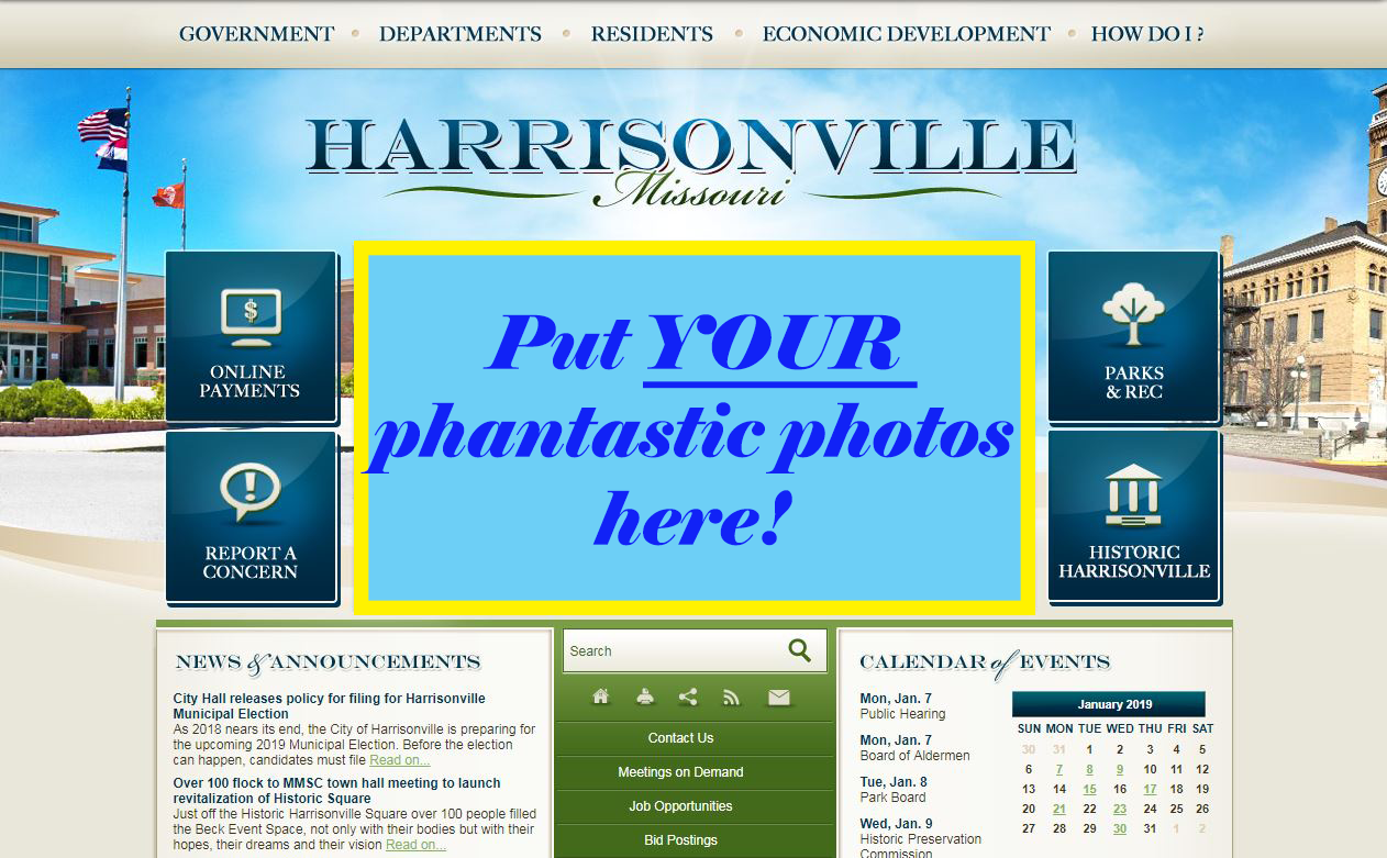 A screenshot of the www.harrisonville.com home page.