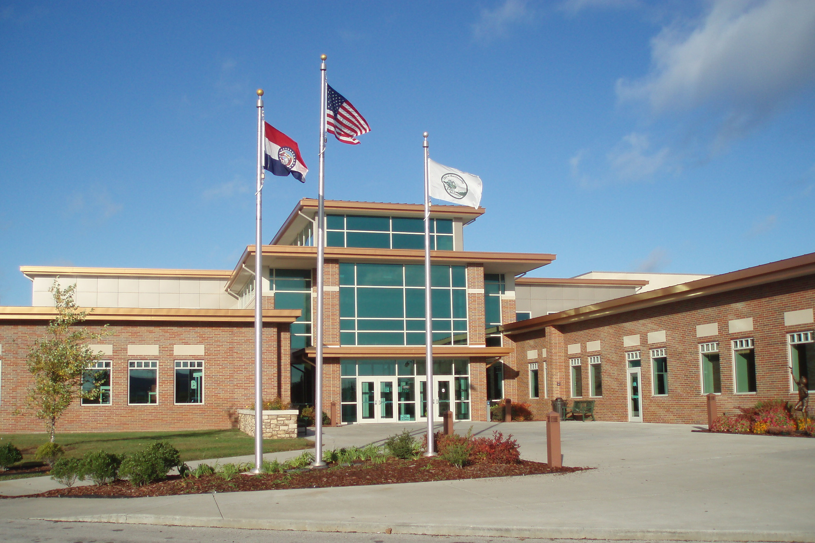 Harrison Community Cente Exterior and Flags